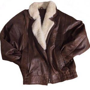 🎯💣Leather Jacket-ALL leather Cuff@Waistband Snug